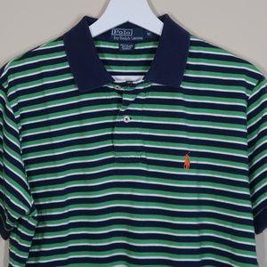 Striped Green Short-Sleeve Polo Shirt